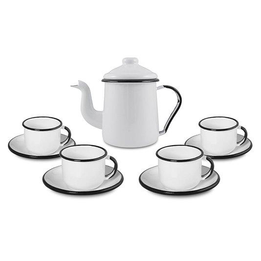 Conjunto de Café Esmaltado – 09 pçs – Branco (EWEL)
