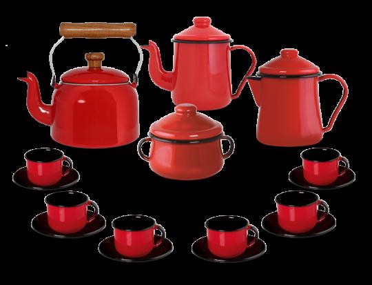 Kit Café Esmaltado Tradicional - 16 peças - Vermelho