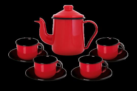Conjunto de Café Esmaltado – 09 pçs – Vermelho (EWEL)