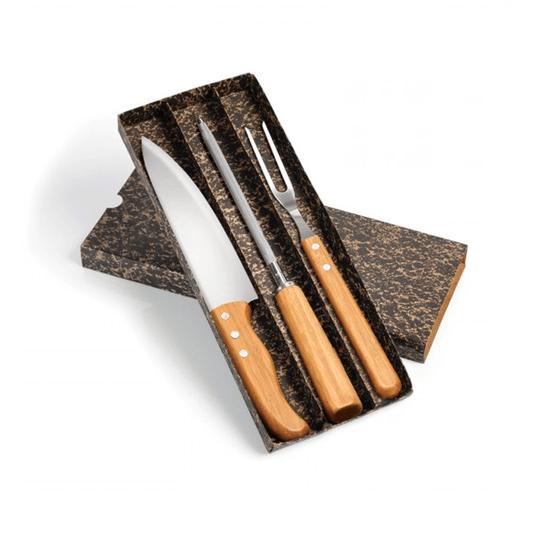 """Conj. Faca 8"""", Garfo e Chaira inox/bambu Special Line - 3 pçs"""
