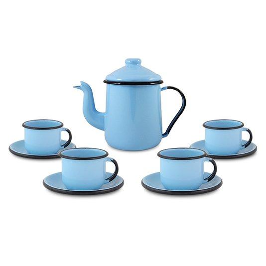 Conjunto de Café Esmaltado – 09 pçs – Azul Claro (EWEL)
