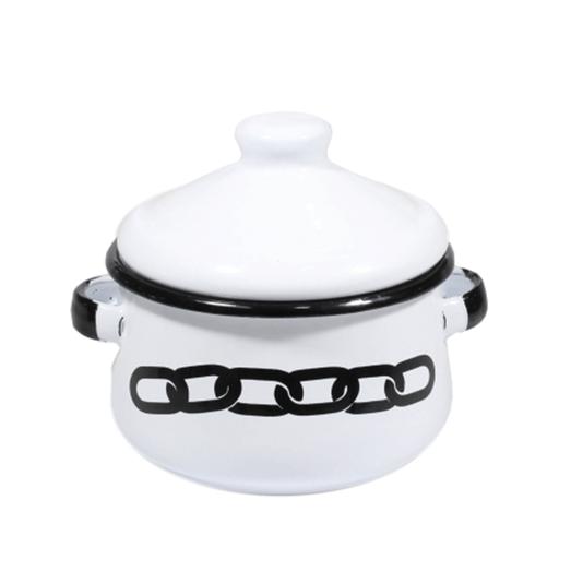 Mini Caçarola Esmaltada com Alça - nº 10 - Branco Corrente - 500 ml (À LA GARÇONNE + EWEL)