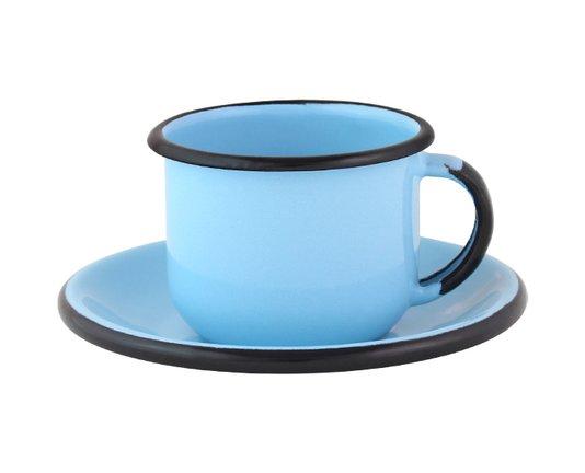 Xícara Esmaltada com Pires Esmaltado Azul Claro - EWEL