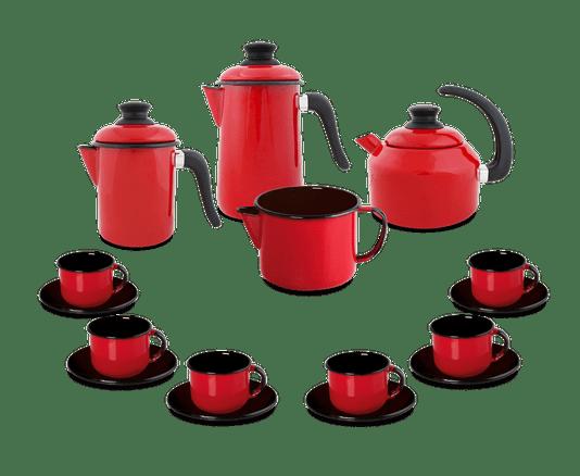 Kit Café Esmaltado 16 peças - Vermelho