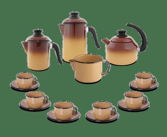 Kit Café Esmaltado 16 peças - Marrom