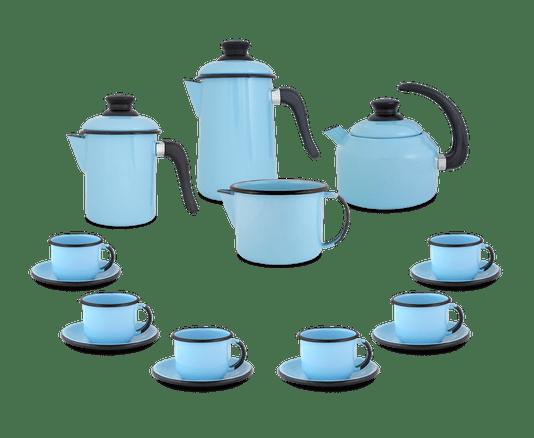 Kit Café Esmaltado 16 peças - Azul Claro
