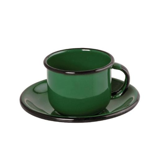 Xícara Esmaltada com Pires Esmaltado Verde - EWEL