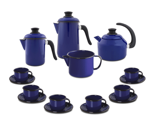 Kit Café Esmaltado 16 peças - Azul