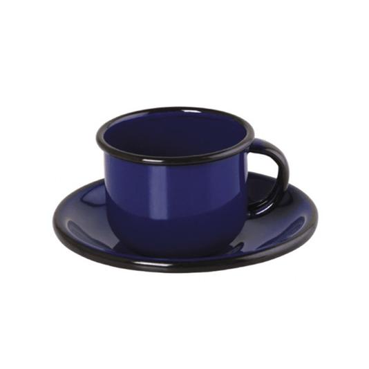 Xícara Esmaltada com Pires Esmaltado Azul - EWEL