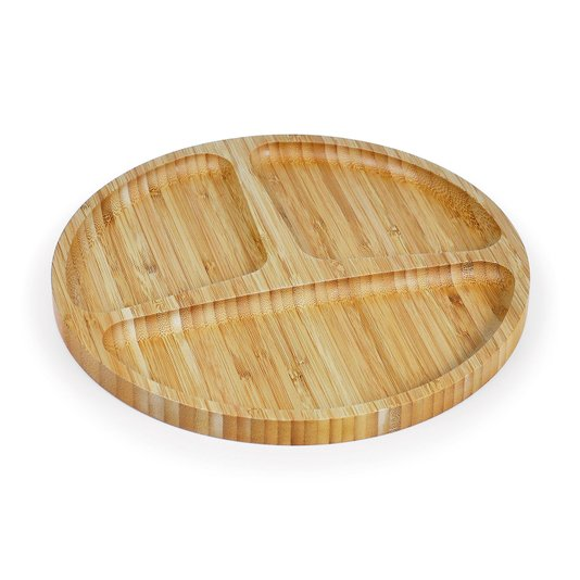 Petisqueira redonda em bambu com 3 divisões