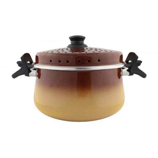 Espagueteira Esmaltada - Bojuda - nº 24 - Marrom - 4600 ml (EWEL)