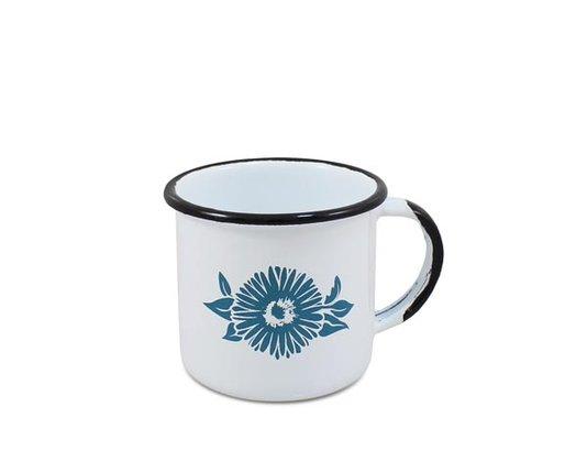 Caneca n° 06 Esmaltada Branca com Flor Azul - Ewel