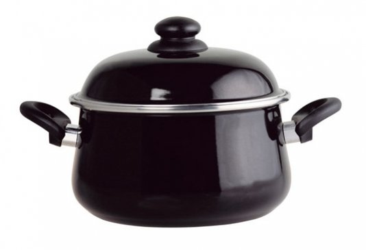 Panela Esmaltada com Alças - Bojuda – Preta – Ø16cm - 1250 ml (EWEL)