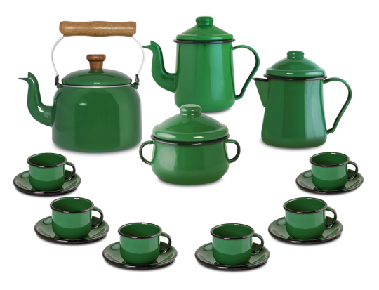 Kit Café Esmaltado Tradicional - 16 peças - Verde