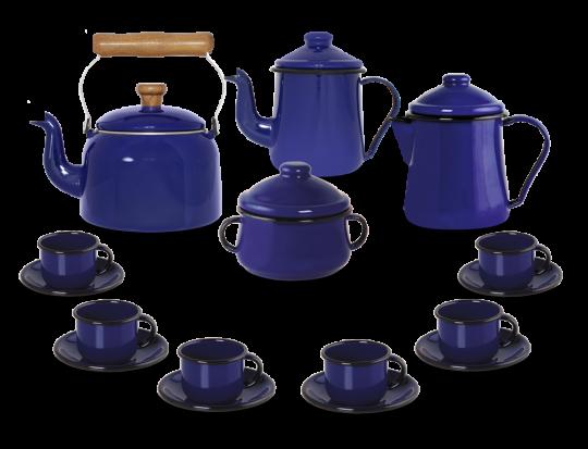 Kit Café Esmaltado Tradicional - 16 peças - Azul