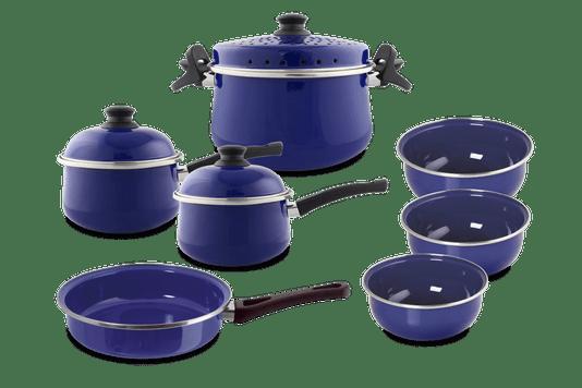 Kit Panelas Esmaltadas 7 peças - Azul
