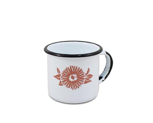 Caneca n° 06 Esmaltada Branca com Flor Coral - Ewel