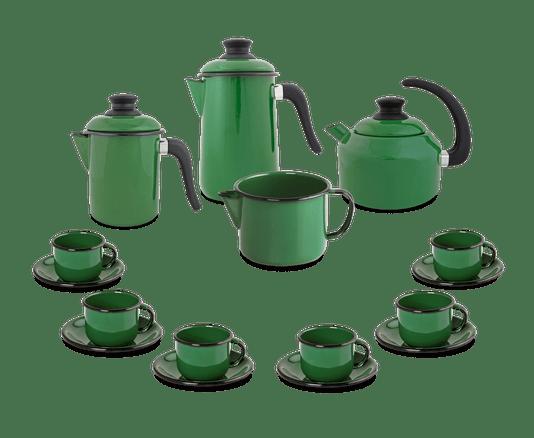 Kit Café Esmaltado 16 peças - Verde