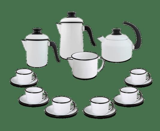 Kit Café Esmaltado 16 peças - Branco
