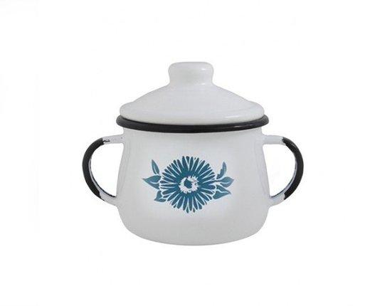 Açucareiro Esmaltado Branco 380 ml Ewel com Flor Azul