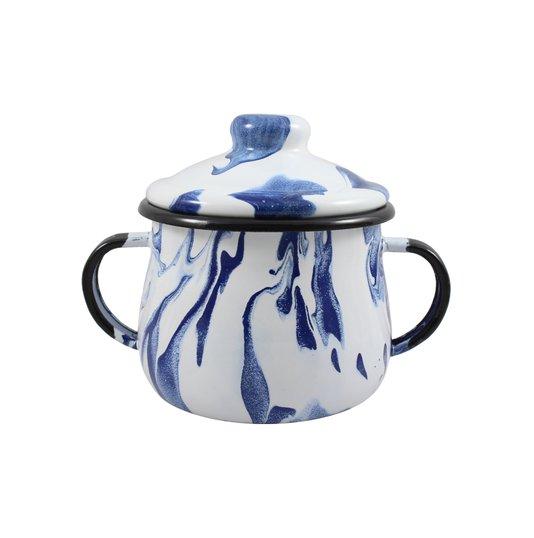 Açucareiro Esmaltado - n° 8 - Azul - 380 ml (EWEL Coleção Marmorizada)