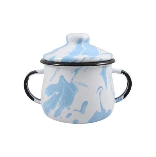 Açucareiro Esmaltado - n° 8 - Azul Claro - 380 ml (EWEL Coleção Marmorizada)