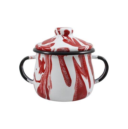 Açucareiro Esmaltado - n° 8 - Vermelho - 380 ml (EWEL Coleção Marmorizada)