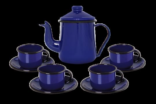 Conjunto de Café Esmaltado – 09 pçs – Azul (EWEL)