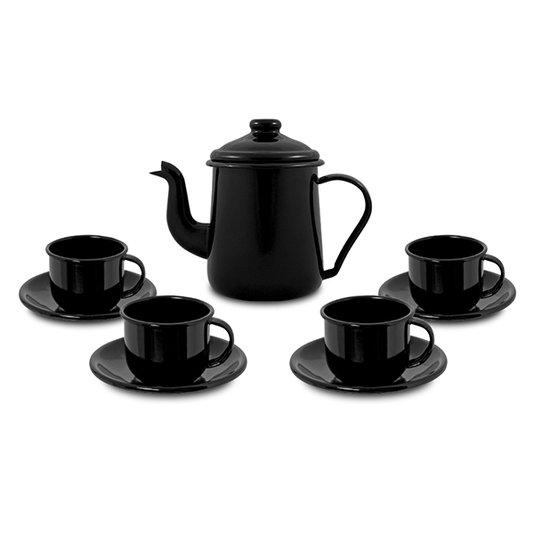 Conjunto de Café Esmaltado – 09 pçs – Preto (EWEL)