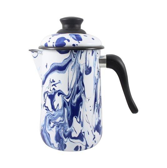Bule para Café Esmaltado - nº 14 - Azul - 1500 ml (EWEL Coleção Marmorizada)