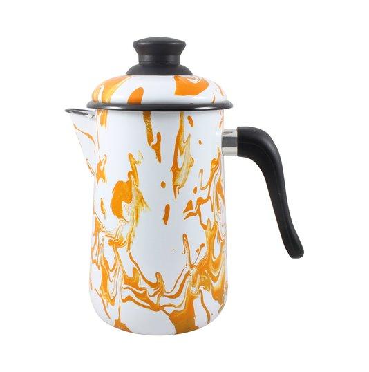 Bule para Café Esmaltado - nº 14 - Laranja - 1500 ml (EWEL Coleção Marmorizada)