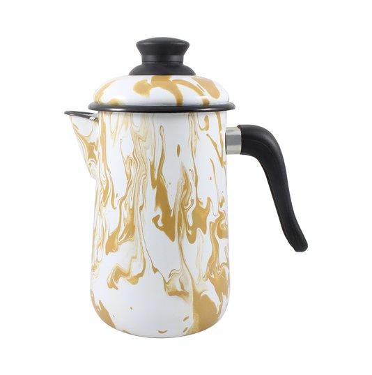 Bule para Café Esmaltado - nº 14 - Marrom - 1500 ml (EWEL Coleção Marmorizada)