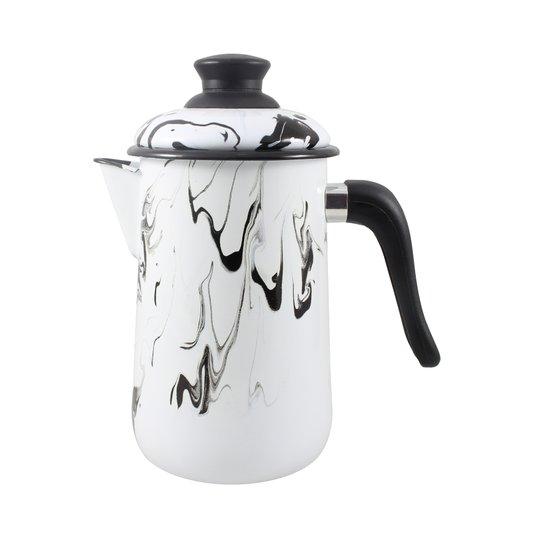 Bule para Café Esmaltado - nº 14 - Preto - 1500 ml (EWEL Coleção Marmorizada)