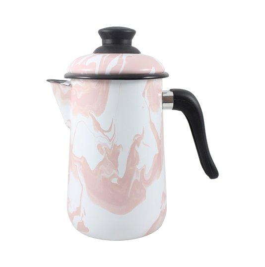 Bule para Café Esmaltado - nº 14 - Rosa Claro - 1500 ml (EWEL Coleção Marmorizada)