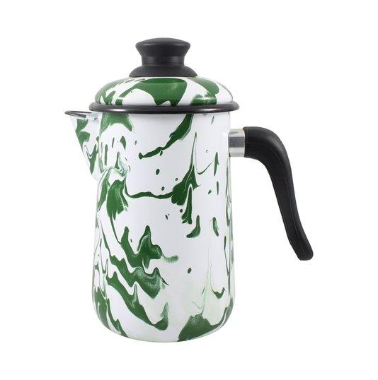 Bule para Café Esmaltado - nº 14 - Verde - 1500 ml (EWEL Coleção Marmorizada)