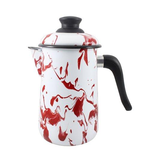 Bule para Café Esmaltado - nº 14 - Vermelho - 1500 ml (EWEL Coleção Marmorizada)