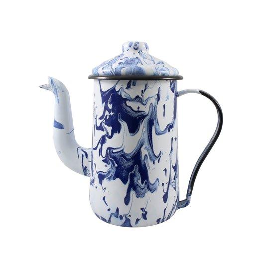 Bule para Café Esmaltado Tradicional - nº 14 - Azul - 1500 ml (EWEL Coleção Marmorizada)
