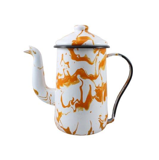 Bule para Café Esmaltado Tradicional - nº 14 - Laranja - 1500 ml (EWEL Coleção Marmorizada)