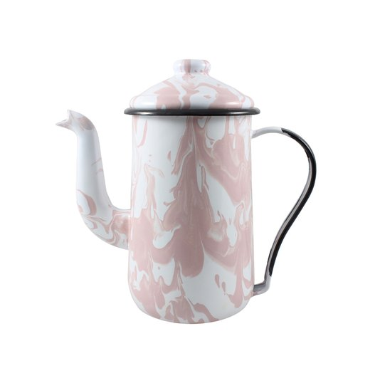 Bule para Café Esmaltado Tradicional - nº 14 - Rosa Claro - 1500 ml (EWEL Coleção Marmorizada)
