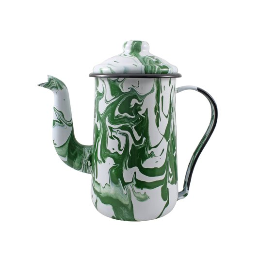Bule para Café Esmaltado Tradicional - nº 14 - Verde - 1500 ml (EWEL Coleção Marmorizada)