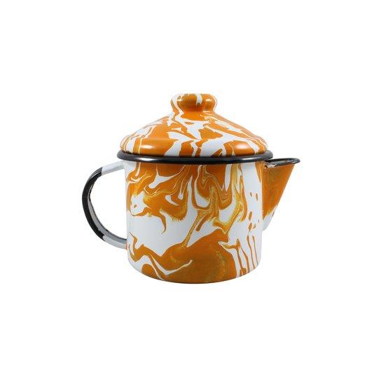 Bule para Chá Esmaltado - nº 10 - Laranja - 600 ml (EWEL Coleção Marmorizada)
