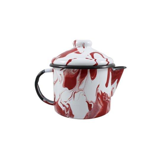 Bule para Chá Esmaltado - nº 10 - Vermelho - 600 ml (EWEL Coleção Marmorizada)
