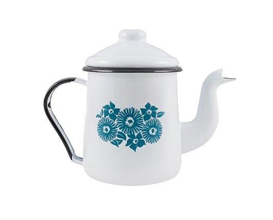 Cafeteira Esmaltada Branca 1000 ml Ewel com Flor Azul