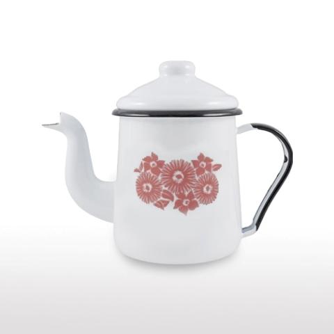 Cafeteira Esmaltada Branca 1000 ml Ewel com Flor Coral