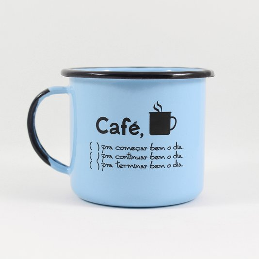 Caneca Esmaltada Café o Dia Todo Azul Claro - EWEL