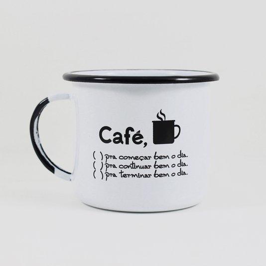 Caneca Esmaltada Café o Dia Todo Branca - EWEL