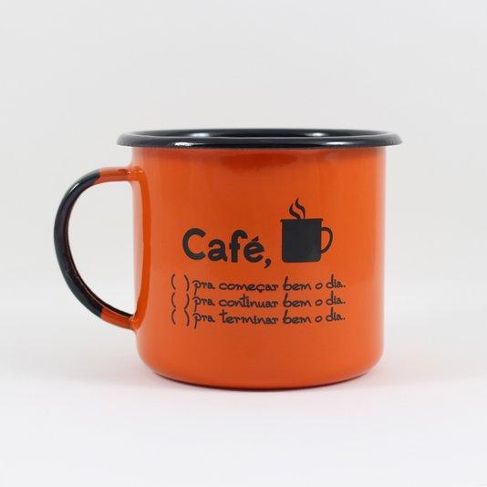 Caneca Esmaltada Café o Dia Todo Laranja - EWEL