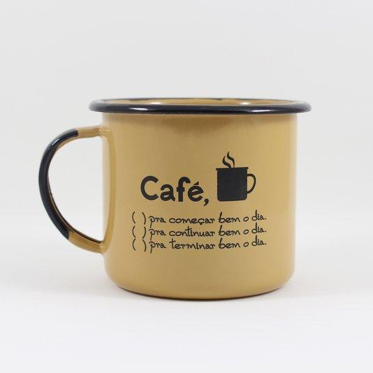 Caneca Esmaltada Café o Dia Todo Marrom - EWEL