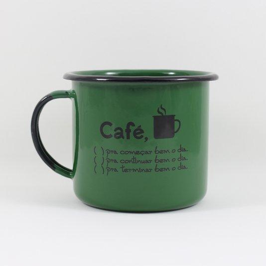 Caneca Esmaltada Café o Dia Todo Verde - EWEL