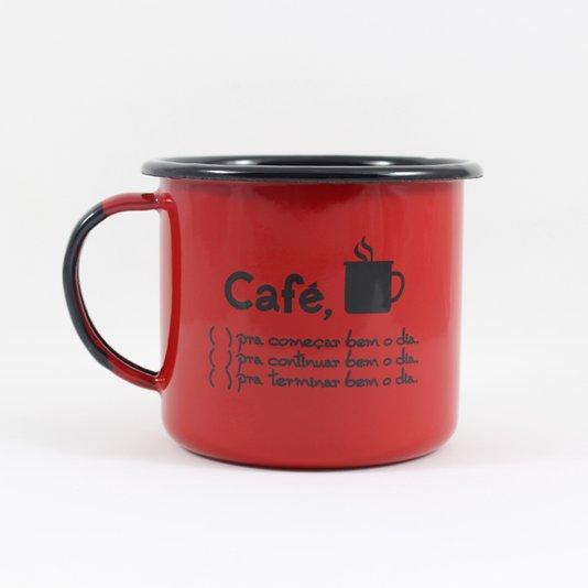 Caneca Esmaltada Café o Dia Todo Vermelha - EWEL